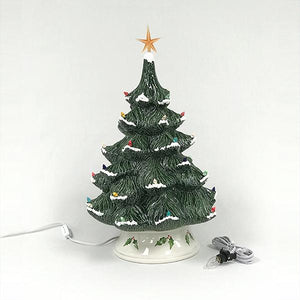 Ceramic Bisque - Christmas Tree Bisque With Base And Lights, Large