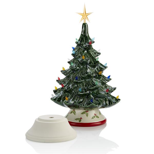 Ceramic Bisque - Christmas Tree Bisque With Base And Lights, Medium