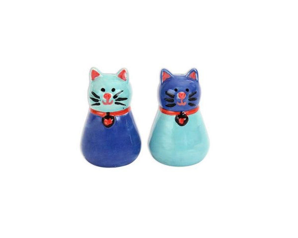 Ceramic Bisque - Whiskers Cat Salt And Pepper Shakers