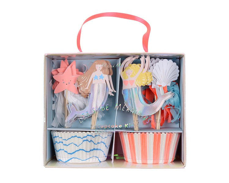 Cupcake Liners - Let's Be Mermaids Cupcake Liner And Topper Kit