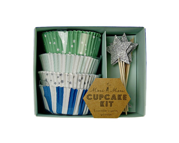 Cupcake Liners - Toot Sweet Blue Stripe Cupcake Liner And Topper Kit, 72 Pcs