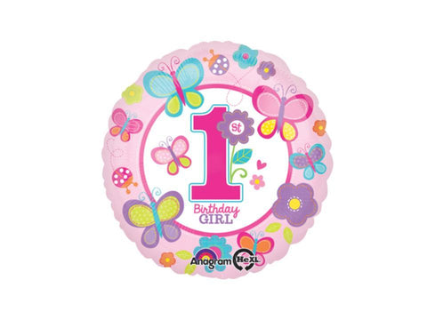 Foil Balloons - 1st Birthday Girl Foil Balloon - 17 Inch