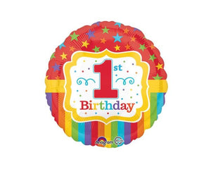 Foil Balloons - 1st Birthday Rainbow Stripes Foil Balloon - 17 Inch