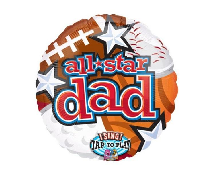 Foil Balloons - All Star Dad Singing Balloon Foil Balloon - 28 Inch