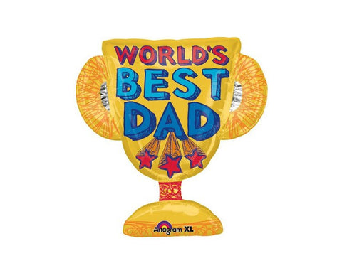 Foil Balloons - Best Dad Trophy Foil (Mylar) Balloons - 27 Inch