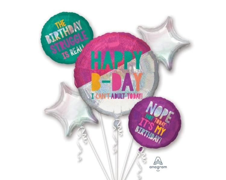 Foil Balloons - Birthday Young And Fabulous Foil Balloon Bouquet