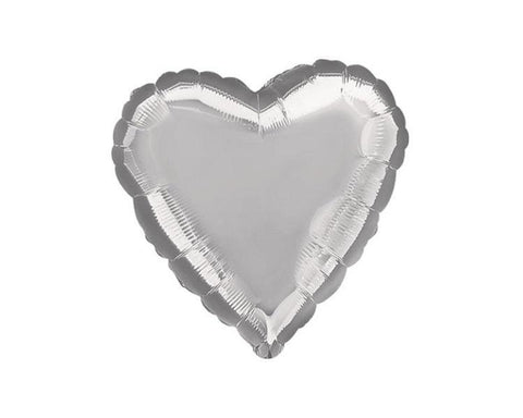 Foil Balloons - Copy Of Heart Foil Balloon, Silver - 16 Inch