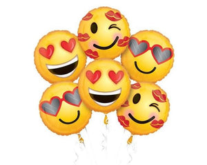 Foil Balloons - Emoji Love Foil Balloon Bouquet