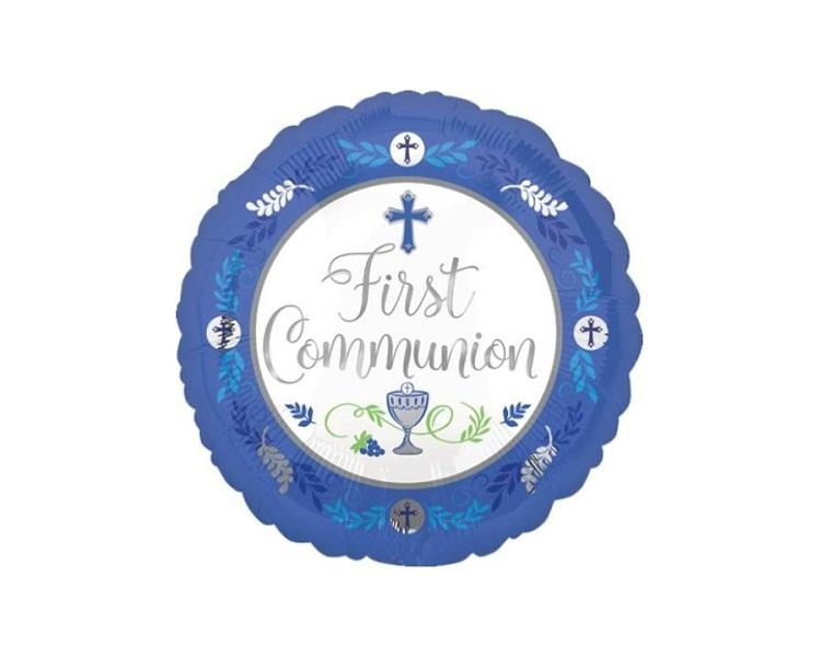 Foil Balloons - First Communion Blue Foil Balloon - 17 Inch