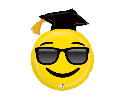 Foil Balloons - Graduation, Emoji With Cap Foil Mylar Balloons - 37 Inch