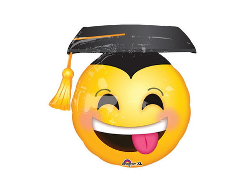 Foil Balloons - Graduation, Smiley Face Emoji Foil (Mylar) Balloons - 36 Inch