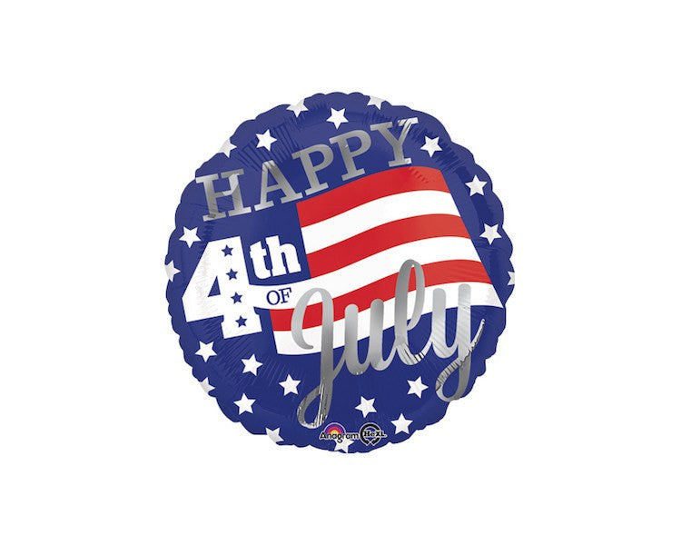 Foil Balloons - Happy 4th Stars And Stripes Balloon Foil (Mylar) Balloons - 18 Inch