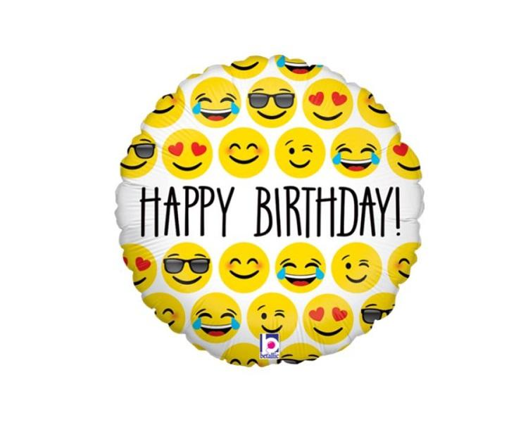 Foil Balloons - Happy Birthday Emoji Party Foil Balloon - 18 Inch