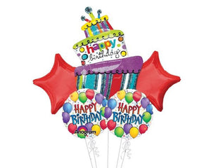 Foil Balloons - Happy Birthday Fun Balloon Foil (Mylar) Balloon Bouquet