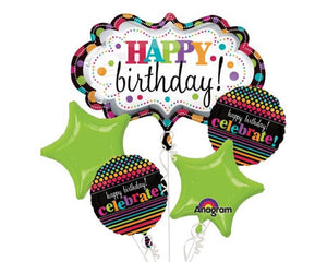 Foil Balloons - Happy Birthday Marquee Balloon Foil (Mylar) Balloon Bouquet