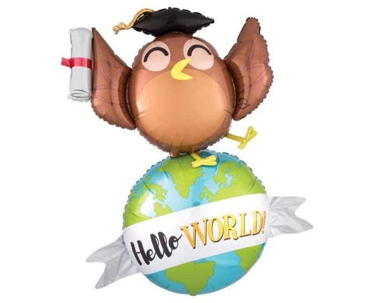 Foil Balloons - Hello World Graduation Owl Foil Multi Balloon - 42 Inch