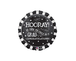 Foil Balloons - Hooray Grad Party Balloon Foil (Mylar) Balloons - 17 Inch
