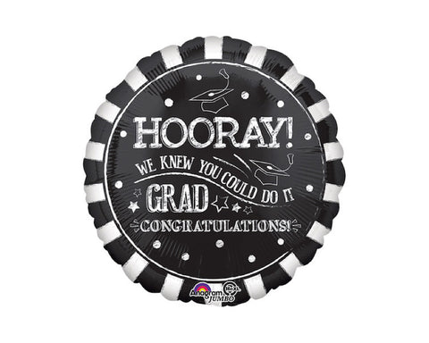 Foil Balloons - Hooray Grad Party Balloon Foil (Mylar) Balloons - 28 Inch