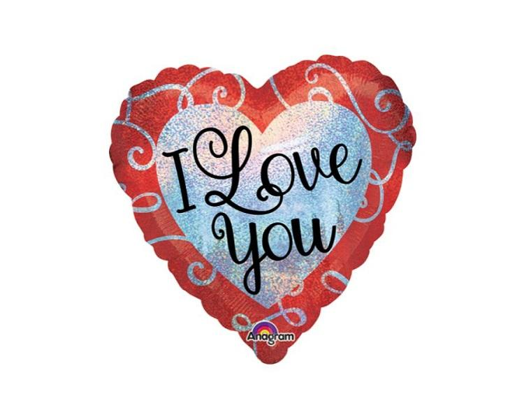 Foil Balloons - I Love You Sparkle Hearts Holographic Foil Balloon - 17 Inch
