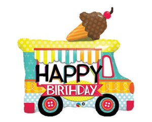 Foil Balloons - Ice Cream Truck Happy Birthday Foil (Mylar) Balloons - 36 Inch, 1 Pc