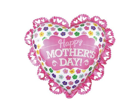 Foil Balloons - Intricate Heart Shape Mother's Day Foil Balloon - 23 Inch