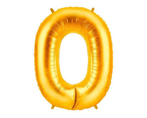 Gold Foil Balloon Numbers - Zero