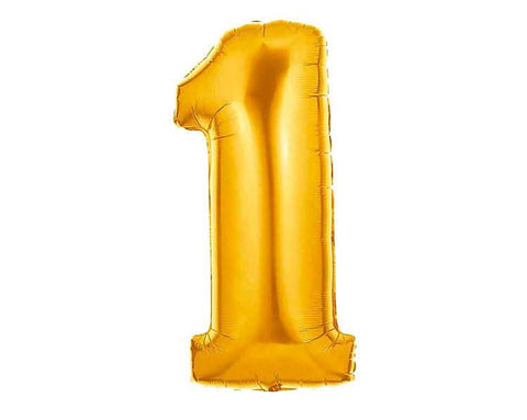 Gold Foil Balloons Numbers - One