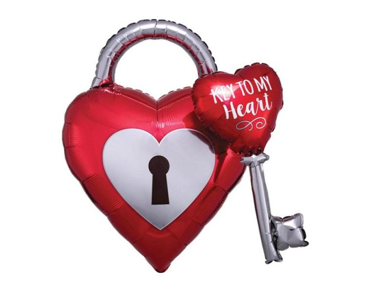 Foil Balloons - Key To My Heart Multi Foil Balloon - 32 Inch