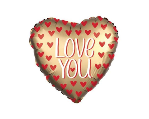 Foil Balloons - Love You Gold Heart Foil Balloon - 17 Inch