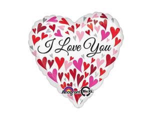 Foil Balloons - Love You Happy Hearts Foil Balloon - 28 Inch