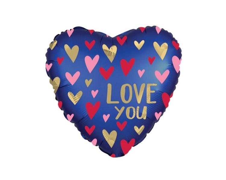 Foil Balloons - Love You Navy And Gold Foil Balloon - 17 Inch