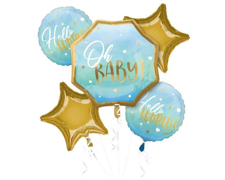 Foil Balloons - Oh Boy Baby Shower Mylar Balloon Bouquet