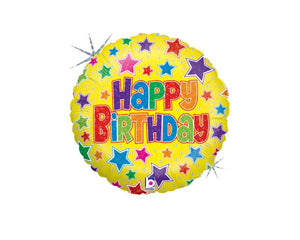 Foil Balloons - Star Happy Birthday Balloon Foil (Mylar) Balloons - 18 Inch