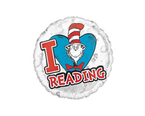 Foil Balloons - Suess I Love Reading Balloon Foil Balloons - 17 Inch