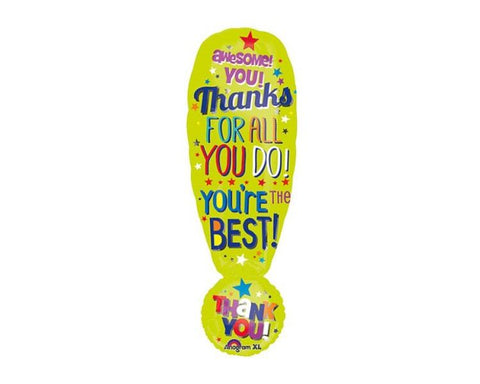 Foil Balloons - Thanks Exclamation Foil Balloon - 34 X 11 Inch