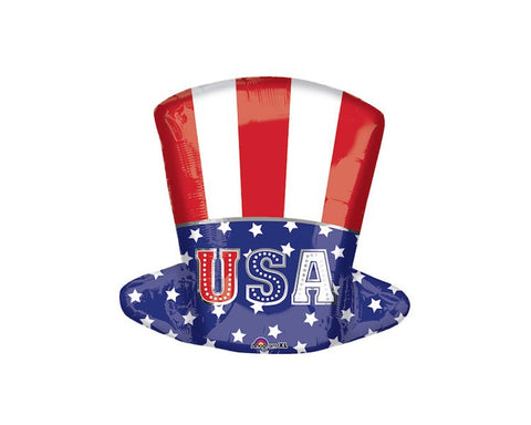 Foil Balloons - Uncle Sam Top Hat Foil (Mylar) Balloons - 18 Inch