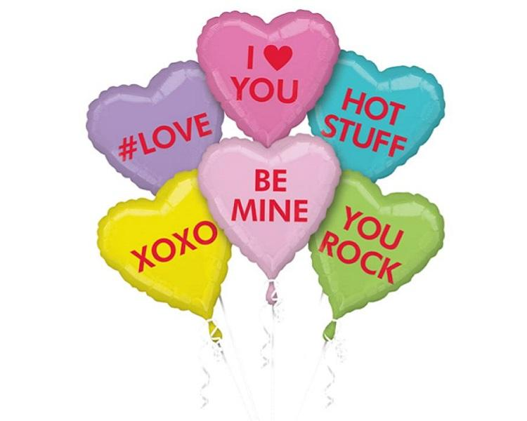 Foil Balloons - Valentine Candy Hearts Foil Balloon Bouquet