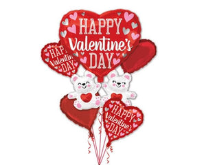 Foil Balloons - Valentines Floating Bear Foil Balloon Bouquet