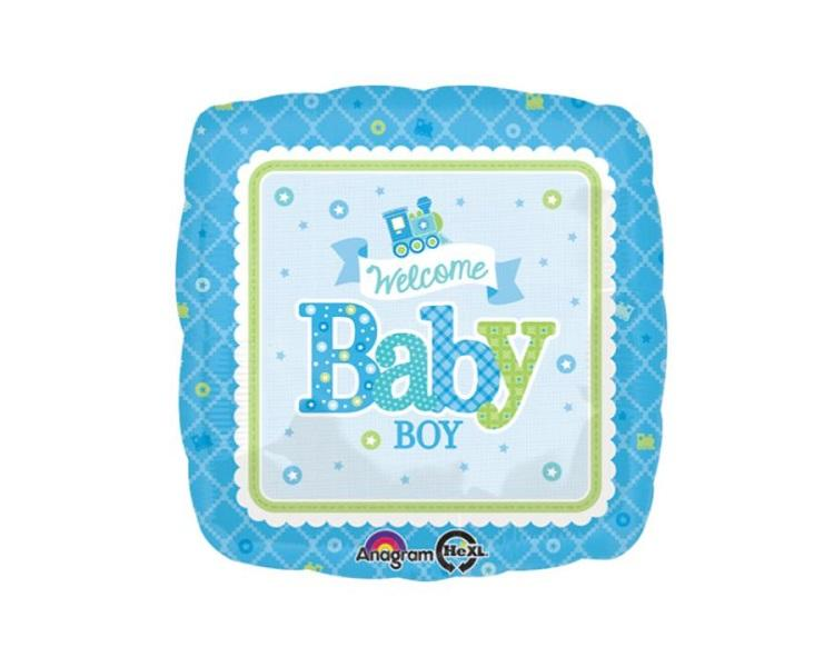 Foil Balloons - Welcome Baby Boy Train Square Foil Balloon - 17 Inch