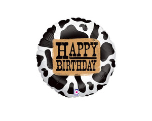 Foil Balloons - Western Cow Print Happy Birthday Foil (Mylar) Balloons - 18 Inch