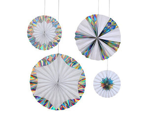 Hanging Decorations - Silver Foil Holographic Pinwheels