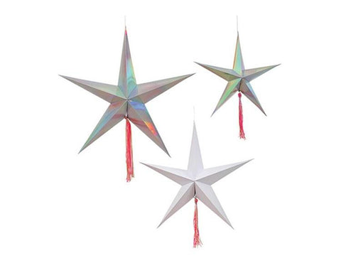 Hanging Decorations - Silver Foil Holographic Shooting Stars Decorations