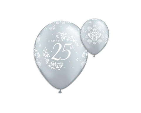 Latex Balloons - 25th Anniversary Latex Balloon - 11 Inch