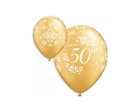Latex Balloons - 50th Anniversary Latex Balloon - 11 Inch