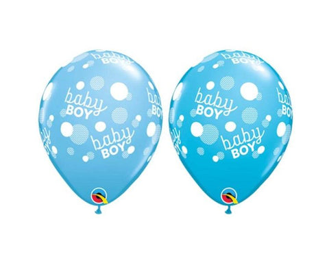Latex Balloons - 6 Assorted Baby Boy Latex Balloons  - 11 Inch