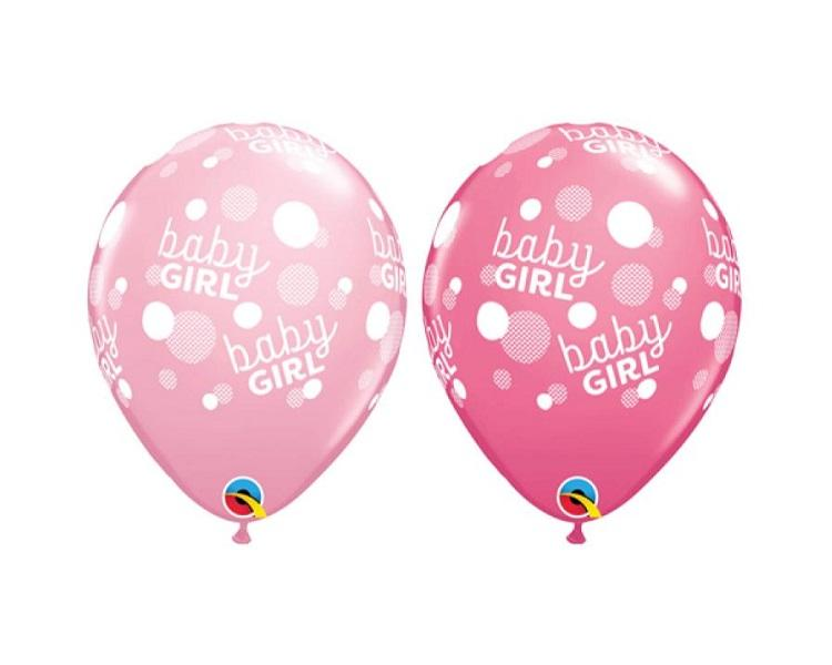 Latex Balloons - 6 Assorted Baby Girl Latex Balloons  - 11 Inch