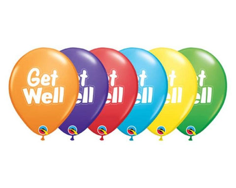 Latex Balloons - 6 Assorted Get Well Latex Balloons  - 11 Inch
