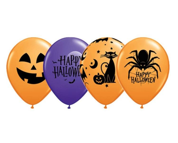 Latex Balloons - 6 Assorted Halloween Latex Balloons  - 11 Inch