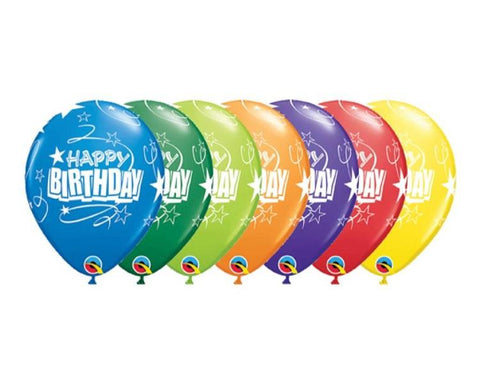 Latex Balloons - 6 Assorted Happy Birthday Loops And Stars Latex Balloons  - 11 Inch