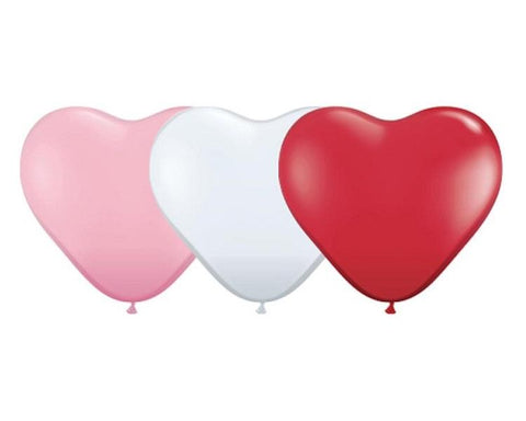 Latex Balloons - 6 Assorted Heart Shaped Latex Balloons  - 11 Inch
